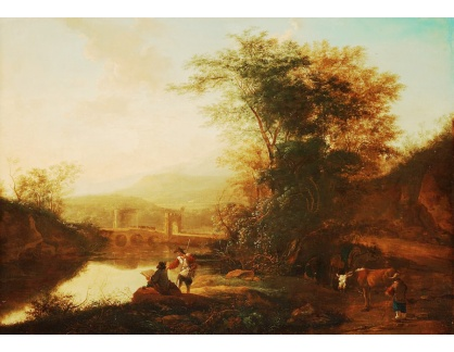 Krásné obrazy IV-46 Jan Dirckzoon Both - Italská krajina s postavami a dobytkem