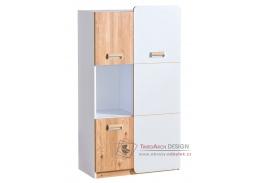 LIMO L05, skříňka 3-dveřová, bílá / dub nash