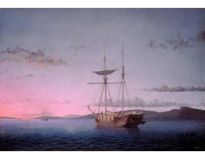 VL365 Fitz Henry Lane - Dřevo na lodi Schooners večer v zástoce Penobscot