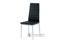 DCL-117 BK, jídelní židle, šedý lak / ekokůže černá