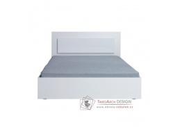 ASIENA, postel 160x200cm, bílá / bílý lesk