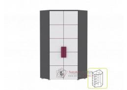 Rohová kombinovaná skříň LOBETE 89 šedá / bílá / fialová