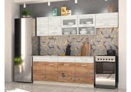 MORENO III, kuchyně 240cm, dub kraft bílý / dub kraft zlatý