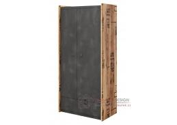 DRAKE 02, šatní skříň 2-dveřová se zásuvkou, smrk canyon alpine / steel