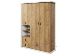 SOMAS 01, šatní skříň 150cm 3D2S, bílá / ořech natural