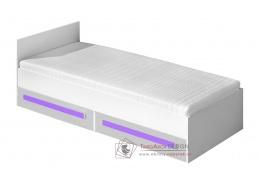 GULLIWER 11, postel 90x200cm, bílá / bílý lesk / fialová
