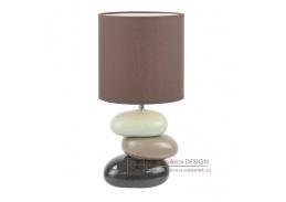 Keramická stolní lampa QENNY typ 5 bílá + hnědá / kávová