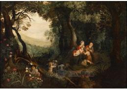 Slavné obrazy VIII-117 Jan Brueghel - Odpočinek v lesní krajině
