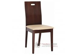 ABRIL, jídelní židle, ořech / ekokůže béžová