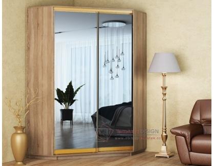 CORA, šatní skříň rohová 140cm, dub sonoma / zrcadlo
