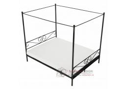 ABENA, kovová postel s nebesy 160x200cm, černá