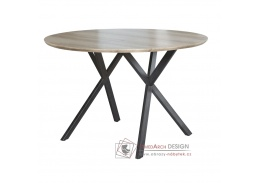 AKTON, jídelní stůl pr. 100cm, černá / dub šedý