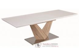 ALARAS 160, jídelní stůl rozkládací, leštěná ocel / dub sonoma / bílý lak