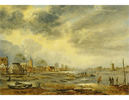 Slavné obrazy II-DDSO-393 Aert van der Neer - Zimní krajina s postavami u řeky