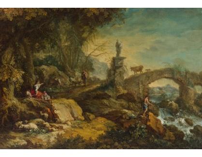 Slavné obrazy III-DDSO-586 Francesco Zuccarelli - Skalnatá říční krajina s kamenným mostem