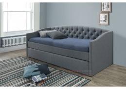 ALESSIA, čalouněná rozkládací postel  90x200cm, látka šedá