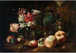 D-5981 Neznámý autor - Váza s květinami, broskvemi, hrozny a švestkami